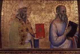 Saint Gregory the Great (c.540-604) and unidentifiable saint (tempera on panel)