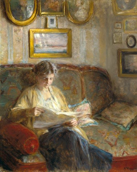 Reading woman in an interior.