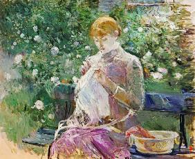 Pasie sewing in Bougival's Garden, 1881 (oil on canvas)