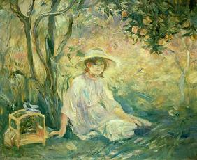 Young girl under orange trees