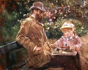 Eugene Manet (1833-92) with his daughter at Bougival
