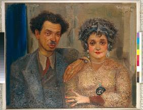 Portrait of the artist Nikiolai Remizov (1887-1975) with his wife