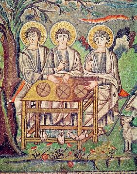 The Three Angels, detail of The Hospitality of Abraham and the Sacrifice of Isaac, 6th century (see