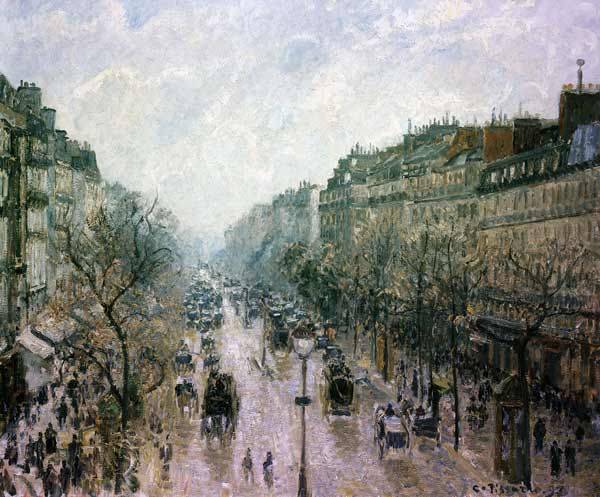 le boulevard montmartre camille pissarro as art print or hand painted oil. Black Bedroom Furniture Sets. Home Design Ideas