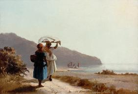 Two talking women on the sea beach