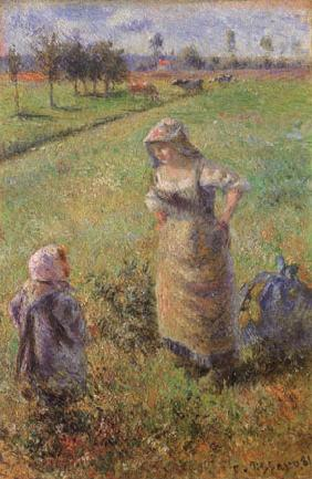 Farmer and child in the field, Pontoise