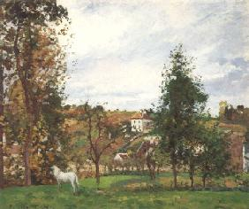 Landscape with a white horse on a meadow, L, ' Hermitage