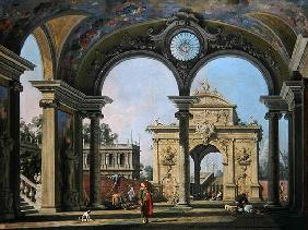 Capriccio of a triumphal arch seen through an ornate archway, c.1750 (oil on canvas)