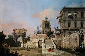 Capriccio of twin flights of steps leading to a palazzo, c.1750 (oil on canvas)