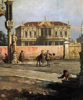 Detail of a Town House and a public square (oil on canvas)