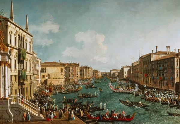 The regatta on Canale grandee in front of the palais Ca'Foscari.