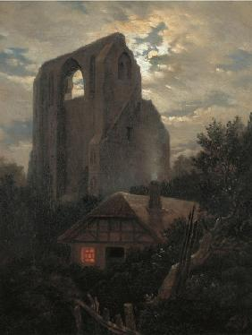 Ruins of the Eldena Monastery with cottage near Greifswald in Moonlight
