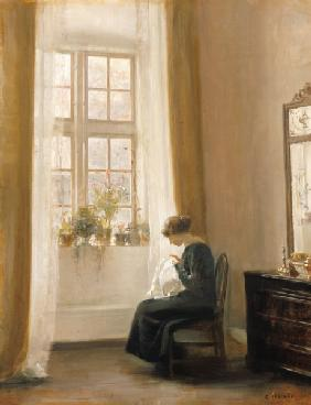 A Girl Sewing in an Interior