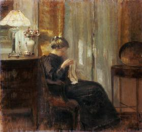 Woman in an interior doing needlework.