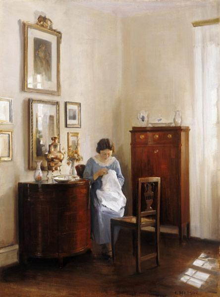Interior with Lady Sewing, c.1910