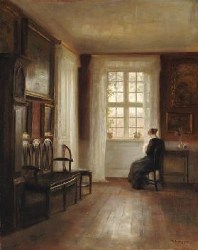 Interior with Woman Sewing (oil on canvas)