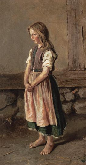Portrait of a barfüssigen girl.