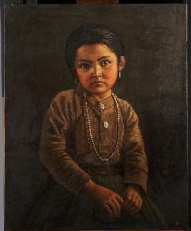 Indian child (oil on canvas mounted on panel)
