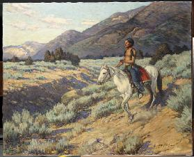 Scout, Taos Valley, New Mexico (oil on canvas)