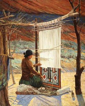 Navaho Weaver, Canyon de Chelly, Navaho Reserve (oil on canvas mounted on panel)