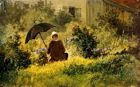 The painter in the garden