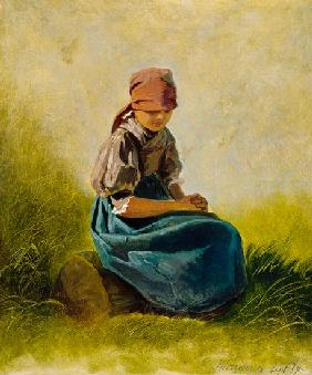 Sedentary farmer girl with folded hands