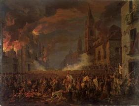 The Capture of Catania by the 4th Bern Regiment in the Night of 5th-6th April, 1849 (oil on canvas)