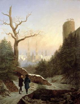 Winter Landscape with Gothic Church, 1821 (oil on canvas)