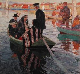 Church Goers in a Boat