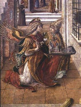 The Annunciation with St. Emidius, detail of the archangel Gabriel with the saint