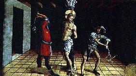 The Flagellation of Christ, central right hand predella panel from the San Silvestro polyptych