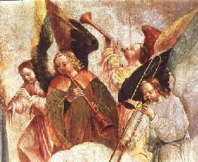 Four angels playing instruments (fresco) (detail