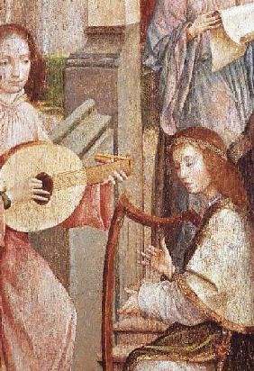The Annunciation, detail of two Angels Playing Instruments