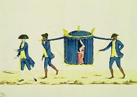 A Noblewoman Being Carried by Two Slaves