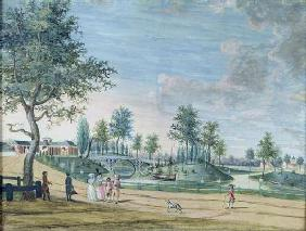 Railway Bridge, Parc du Raincy (The Duke and Duchess of Chartres on their way to the Orangerie) (gou