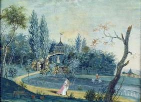 The Lake and Chinese Pavilion in the Park at Le Raincy, c.1754-93 (gouache on paper)