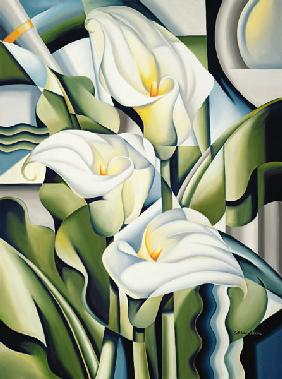 Cubist lilies, 2002 (oil on canvas)