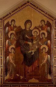 Madonna sitting enthroned, surround of six angels