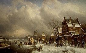 Wintry riverside with ice-skaters with pub and mill