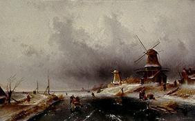 Wintry riverside with ice-skaters and windmills