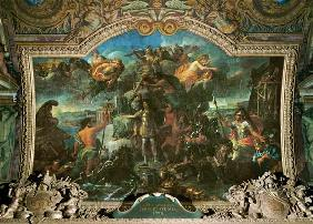 King Louis XIV (1638-1715) taking up Arms on Land and on Sea in 1672, Ceiling Painting from the Gale