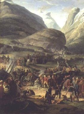 The French Army Travelling over the St. Bernard Pass at Bourg St. Pierre, 20th May 1800