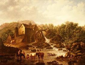 River Scene with Overshot Mill