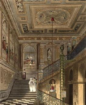The Great Staircase at Kensington Palace From Pyne's 'Royal Residences', engraved by Richard Reeve (