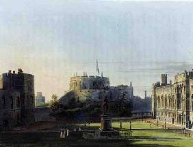 The Upper Ward, Windsor Castle, from 'Royal Residences', engraved by Thomas Sutherland (b.1785), pub