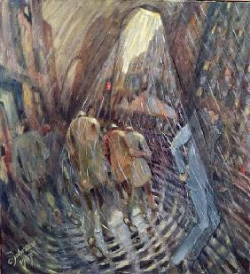 Hail on Sixth Avenue, New York City, 1987 (oil on canvas)