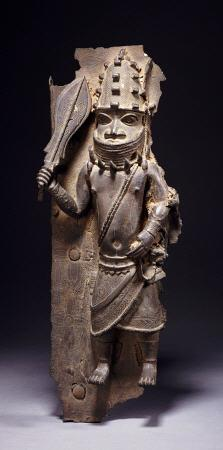 A Benin Bronze Figure From A Plaque In High Relief