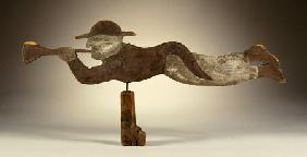 A Carved And Painted Pine Sailor''s Angel Gabriel Weathervane