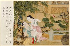 A Chinese Erotic Painting Depicting An Amorous Couple Engaged In Lovemaking