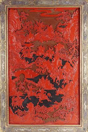 A Filigree Framed Red Lacquer Panel Depicting Warriors On Horseback And Mythical Animals In A Landca